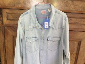 Levis Damen Bluse Jeanshemd XXXL Größe 3XL hellblau Jeans Hemd Perlmutknöpfe Top