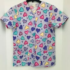 I Love You Size Small Purple With Hearst Snap Scrub Top Medical Nurse Veterinary