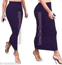 WOMENS High Waisted Polyester Sheath Casual Party Sun Long Maxi Skirts Dress 4XL
