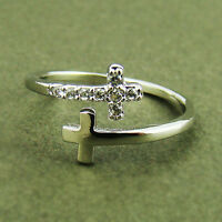 Womens Sideways Double Cross Ring Crystal Silver Rhodium Plated Size Free Wrap