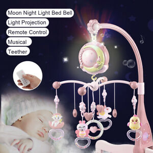Musical Mobile Crib Bed Bell Cot Music Box Baby Rattles Toy Stars Dreams Light