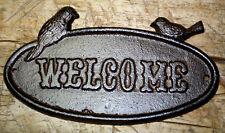 Cast Iron Antique Style Bluebird WELCOME Plaque Garden Sign Wall Decor Birds