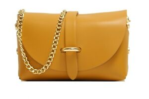 Womens leather evening clutch bags with detachable gold chain strap
