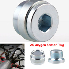 Car Universal M18 X 1.5 02 Oxygen Sensor Stepped Recessed Nut Bung Plugs Silver