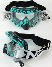 RIP N ROLL MOTOCROSS MX ENDURO GOGGLES HYBRID RnR SALVAJE AQUA fully loaded