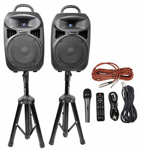 """Rockville RPG082K Dual 8"""" Powered PA System Speakers/Bluetooth+Mic+Stands+Cables"""