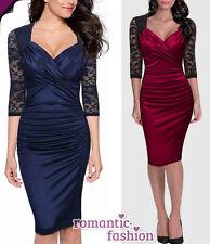 ♥Größe 34-46 Abendkleid Cocktailkleid Etuikleid  Rot oder Blau+NEU+SOFORT♥