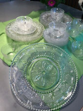 Vintage Clear Pressed Glass Beaded Thousand-Eyes Hobnail Daisy dishes