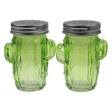 Cactus Green Salt And Pepper Storage Dispenser Container Mill Millers Shaker Set