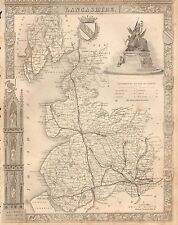 1850 Ca ANTIQUE COUNTY MAP-MOULE-LANCASHIRE, PRESTON,BLACKBURN,MANCHESTER, ULVER