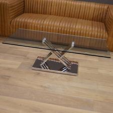 WOHNZIMMERTISCH WOHNEN COUCHTISCH GLAS METALL IMPRESSIONEN MODERN ART DECO 130cm
