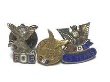 VINTAGE / ANTIQUE LOT OF 3 FRATERNAL ORDER OF EAGLES .925 STERLING LAPEL PINS JS