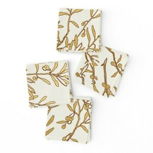 Cocktail Napkins Toile Chinoiserie Flowers Chinoiserie Gold Branches Set of 4