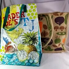 2 Trader Joe's Totes Bags - Burlap Tote Bag and Destination Nautical
