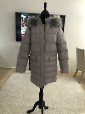 Women's Winter Quilted Down Puffer Coat Jacket in Medium Gray Size Small EUC