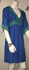 Tori Richard Cinched Empire Waist Blue & Turquoise Silk Dress - Size 4