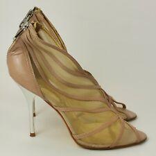 Ted Baker Heels Shoes Size 5 EU 38 Peeptoe Silver Zip Stiletto Heel  351125