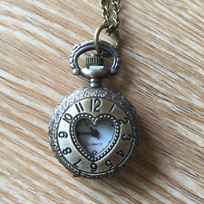 Small Heart Clock Necklace Pocket Watch Antique Style Bronze Pendant Vintage