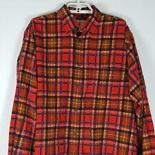 J Crew Vibrant Plaid Flannel Shirt Mens Button Front Thick Warm Winter Sz Small