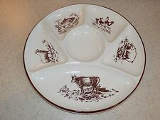 GIEN CHINA FRANCE 6 SECTION PLATE FARM ANIMALS RELISH? 9 5/8""