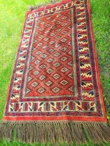 Vintage Abstract Traditional Afghan Area Rug Reds Wool Hand Knotted - 3ft x 5ft.