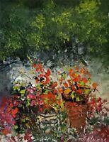 ANDRE DLUHOS ORIGINAL ART OIL PAINTING Floral Garden Pot Red Flowers Bouquet