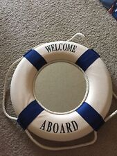 Blue/White Solid Foam 13 3/8� Wide Nautical Welcome Aboard Life Ring Mirror Wall