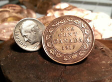 Golf Ball Marker Cnadian 1917 One Cent Piece Large Penny Ball Marker