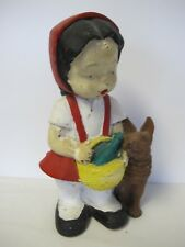 "VINTAGE GOTZ WEST GERMANY Little Red Ridding Hood 13"" tall GNOME MOLDED Rubber"