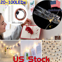 Hanging Pictures Photo LED String Lights Clips Photo 20 / 50 Bedroom Wall Decor