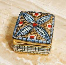 Deruta Italy Handmade Square Mosaic Style Ceramic Trinket Box Gold
