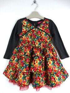 Cakewalk Girls Layered Dress Flowers Long Sleeved Age 2-3 Years Size 3