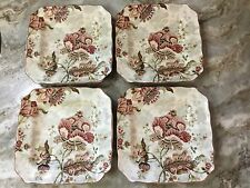 222 Fifth Gabrielle Cream Square Salad Plates. Set of 4. Porcelain. New.