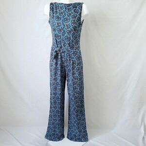 60s Mod Blue Green Paisley Jumpsuit Size Medium Handmade Vintage