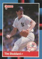 FREE SHIPPING-MINT-1988 Donruss New York Yankees Baseball Card #497 Tim Stoddard