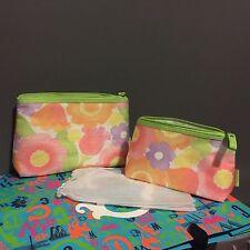 Lot of 2 Clinique Cosmetic Makeup Bag Zipper Travel Pouch