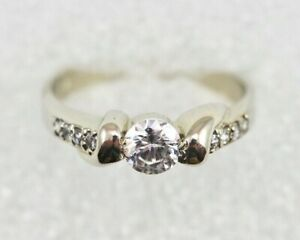 10k White Gold Ring FOR CHEAP - Cubic Zirconia Size 7.25 - CHECK GOLD VALUE