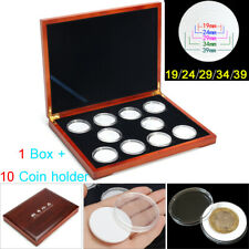 """Oak Coin Wood Case Display Box Wood Storage Holders for 10 Coins NGC PCGS 2"""" US"""