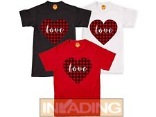 Happy Valentines Day T-Shirt, Cute Buffalo Check Plaid True Love Heart Tee Top