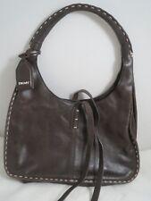 a3d8236c10 DKNY brown leather hobo shoulder handbag purse preowned