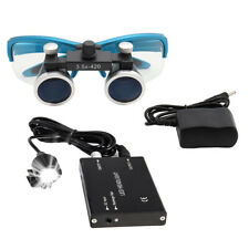 3.5X Dental Hygienists Surgical Binocular Loupe Glasses Blue 3W Headlight Lamp