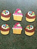 Delicious Cupcake in Yellow - 6 - Iron-On Fabric Appliques.