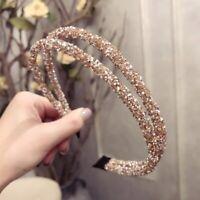 Women Double Crystal Soft Headband Rhinestone Bead Hair Accessories Headwear NEW