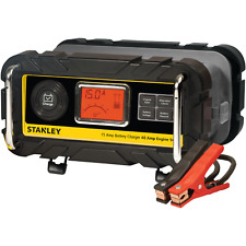 Stanley Car Battery Charger 15A With 40 Amp Engine Start Chargers LCD Screen New