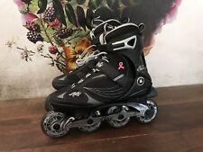 K2 Athena Mens 8 Inline Roller Skate 80 mm Abec 5 Black Silver Breast Cancer