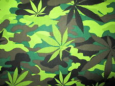MARIJUANA CAMO POT WEED 420 CANNIBUS PLANT CAMOUFLAGE COTTON FABRIC BTHY