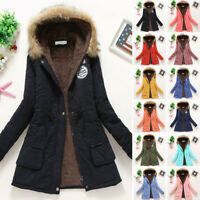 Women's Winter Warm Hooded Coat Long Slim Faux Fur Parka Jacket Overcoat Outwear