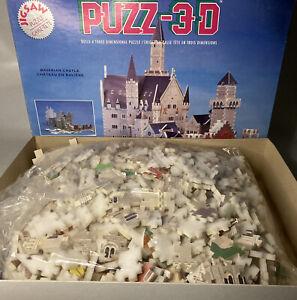 Vintage Puzz-3D Bavarian Castle 917 Pieces 1991 Wrebbit -13x16x22- New Open Box