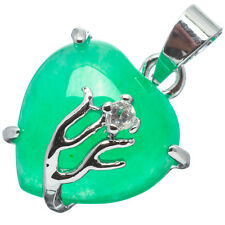 Chinese Emerald Green Jade Jadeite 18K White Gold Plated Heart Pendant #023