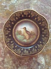 Amazing Antique ROYAL AUSTRIA PORCELAIN BIRD PLATES ROYAL BLUE And Gold